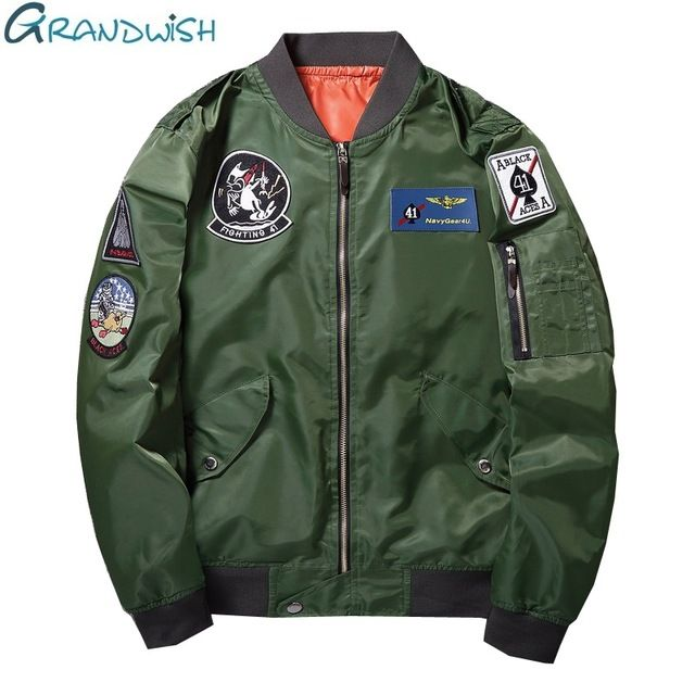 Special price Grandwish Army Green Bomber Jacket Men with Patches 2017 New Men Pilot Jacket Coat Patch Flight Bomber Jacket Mens Autumn ,DA134 just only $20.69 - 22.49 with free shipping worldwide  #jacketscoatsformen Plese click on picture to see our special price for you