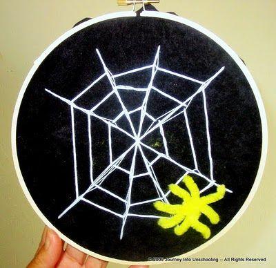 Embroidered Spider Web: Crafts Ideas, Spider Webs, Embroidered Spiders, Art Ideas, Embroidery Hoop, 4 Kids, Kidembroid Spiders, Fun Kids Crafts, Spiders Web