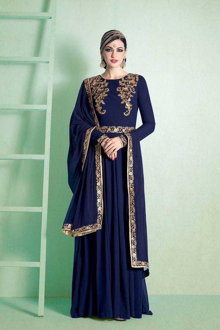 Nakkashi Nairra Designer Floor Length Salwar Kameez  Shop Now-http://bit.ly/2aFNxx4 #Nakkashi #Nairra #Floorlength #onlineshopping