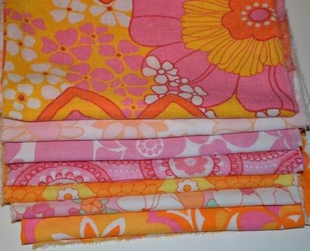 Retro stoff - stoffpakke til babytepper rosa oransje