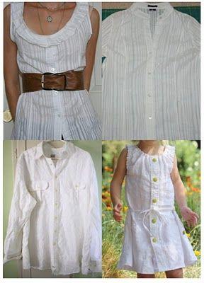 Reciclando una Camisa de hombre , en un Vestido para niña o  blusa para mujer