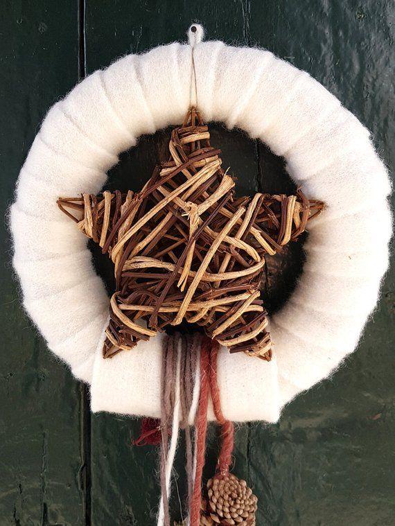 Turkranz Wandkranz Weihnachten Advent Wollfilz Zapfen Zimtstangen Lang Abfliessend Stern Wool Felt Burlap Wreath Advent Wreath