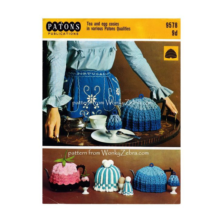 WZ893 vintage tea cosy patterns to knit and crochet .lovely traditional warming designs.