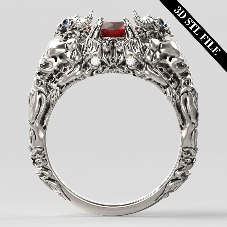 3D STL Devil skull ring with Diamond in 4 ring sizes ready for 3D printing