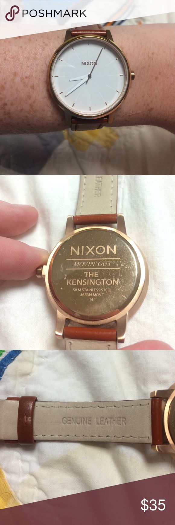 Nixon Women's Watch Brown and gold Nixon watch. Used maybe 5 times. No scratches on watch face or on leather band. Nixon Accessories Watches