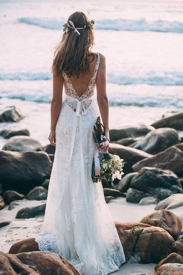 Wedding dresses on the beach