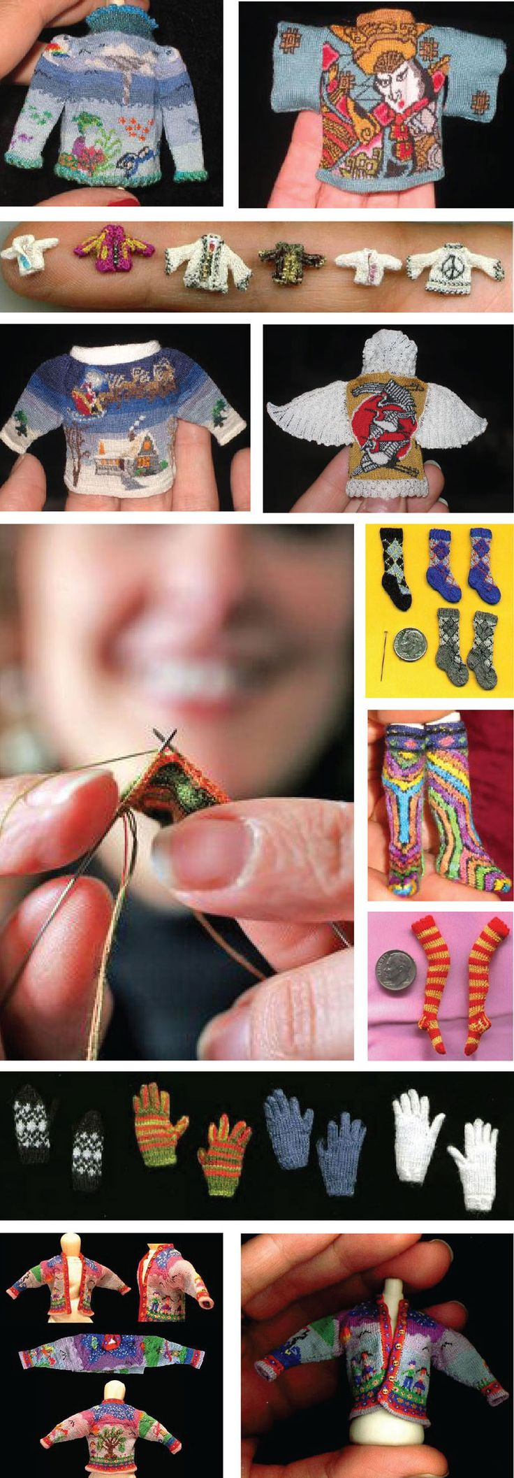 An example of extreme knitting are these miniature works of Indiana-based knitter Althea Crome of Bugknits. She knits these tiny objects with silk sewing threads and uses surgical wires for needles…