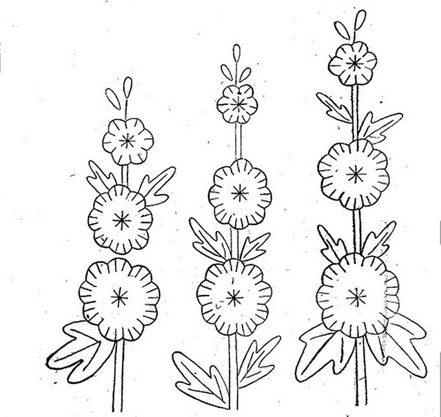 Holly Hocks...would like to do this in wool applique,