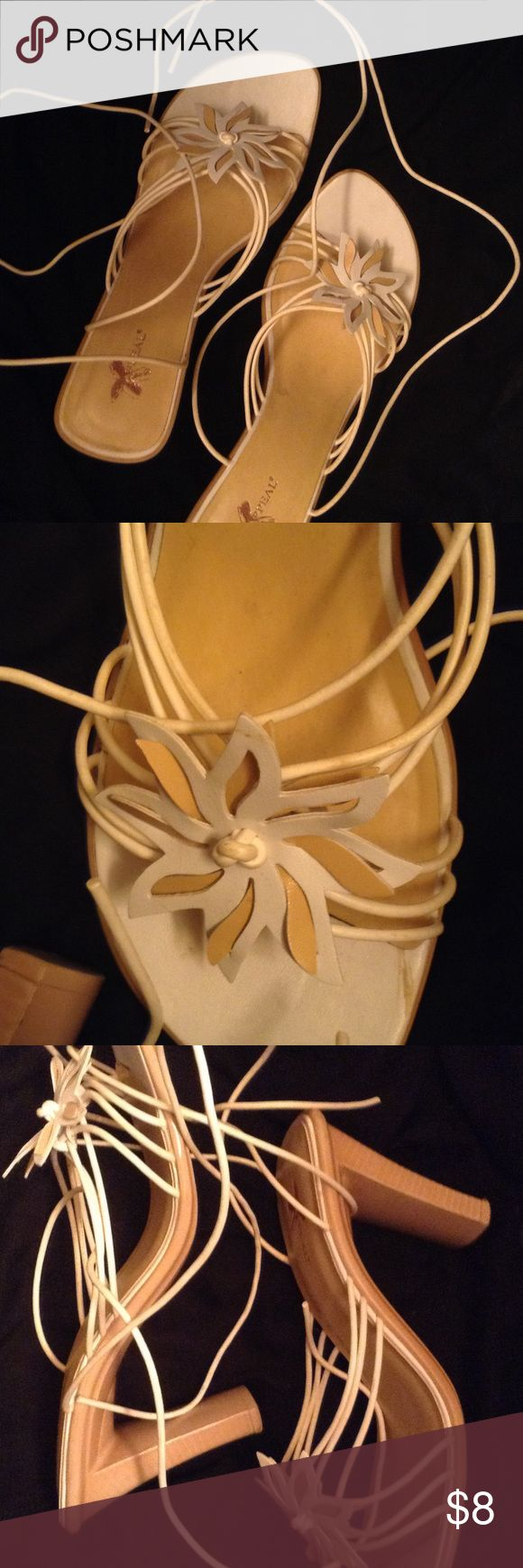 White Open Toe Strap Heels Good condition open toe strap up heels. Heel is 4 inches XAPPEAL Shoes Heels