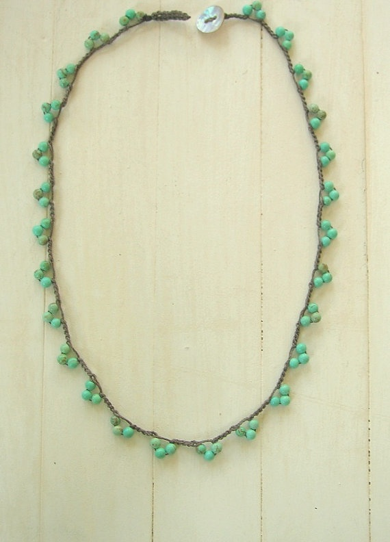 crochet necklace with beads - Häkel Kette mit Perlen