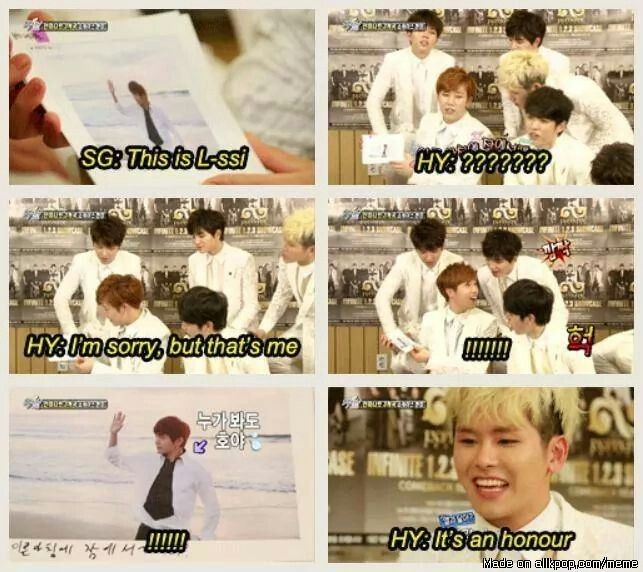 Lmao! Hoya is honored to be mistaken for L! xD | allkpop Meme Center