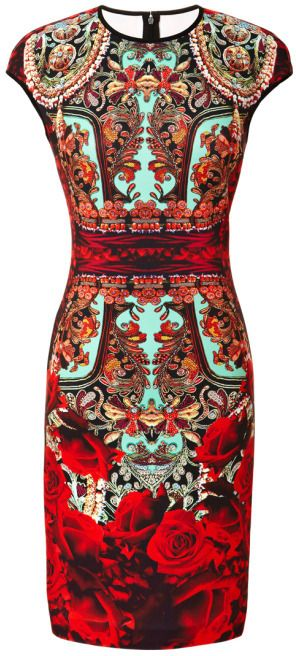 Clover Canyon Rose Matador Printed Neoprene Dress
