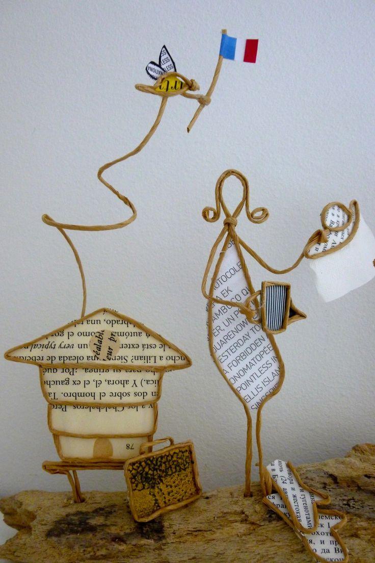 Le gendarme apiculteur - figurines en ficelle et papier
