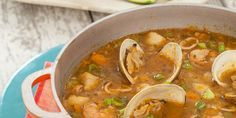 Must try - This looks amazing sans the calimari - Peruvian Seafood Soup (Aguadito de Mariscos)