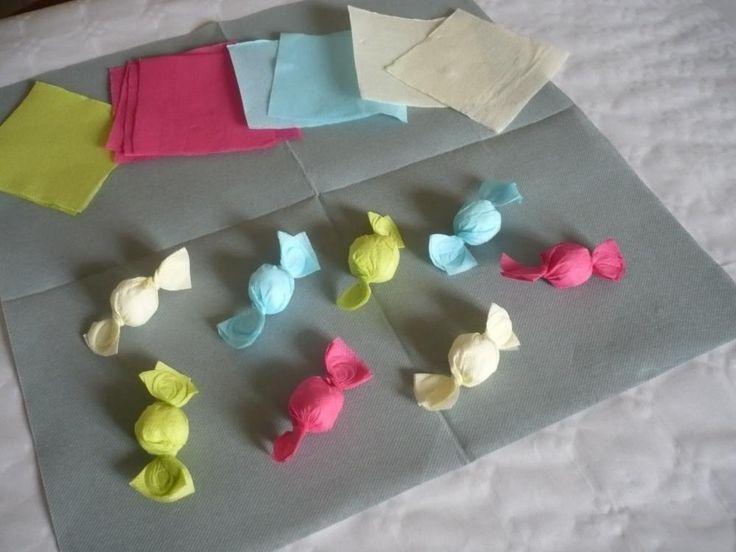 Comment réaliser des bonbons avec des serviettes en papier de couleur  1