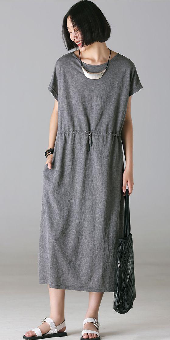 b1266c031a7e SUMMER GRAY COTTON MAXI DRESSES WOMEN LOOSE CLOTHES Q1105