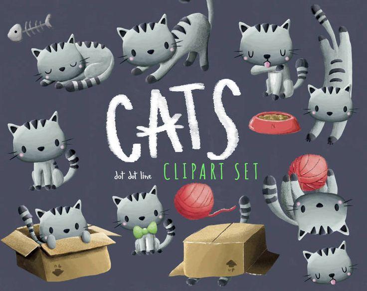 Cats clipart Kitty clipart set Kitten clipart Cat clipart