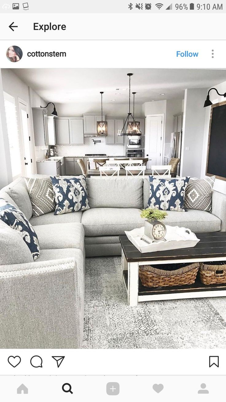 Modern farmhouse living room/kitchen decor. Great light fixtures!!!