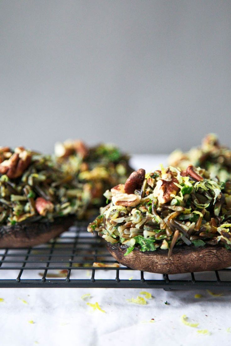 Herbed Wild Rice & Toasted Pecan Stuffed Portobellos