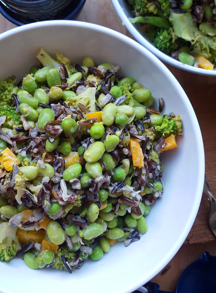 Healthy Wild Rice and Broccoli Salad with Edamame - Vegan, Gluten-Free, Oil-Free