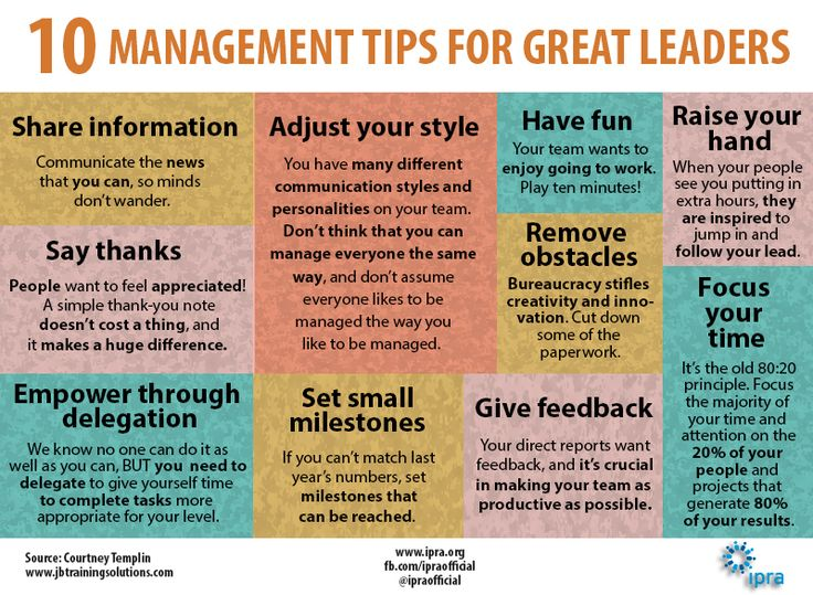 Ten #management tips for great #leaders. Re-pinned by Alpha Omega Consulting & Bookkeeping, LLC  www.aobookkeeping.com
