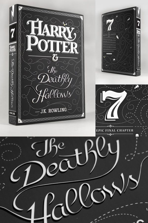 Typographic covers for the Harry Potter books.