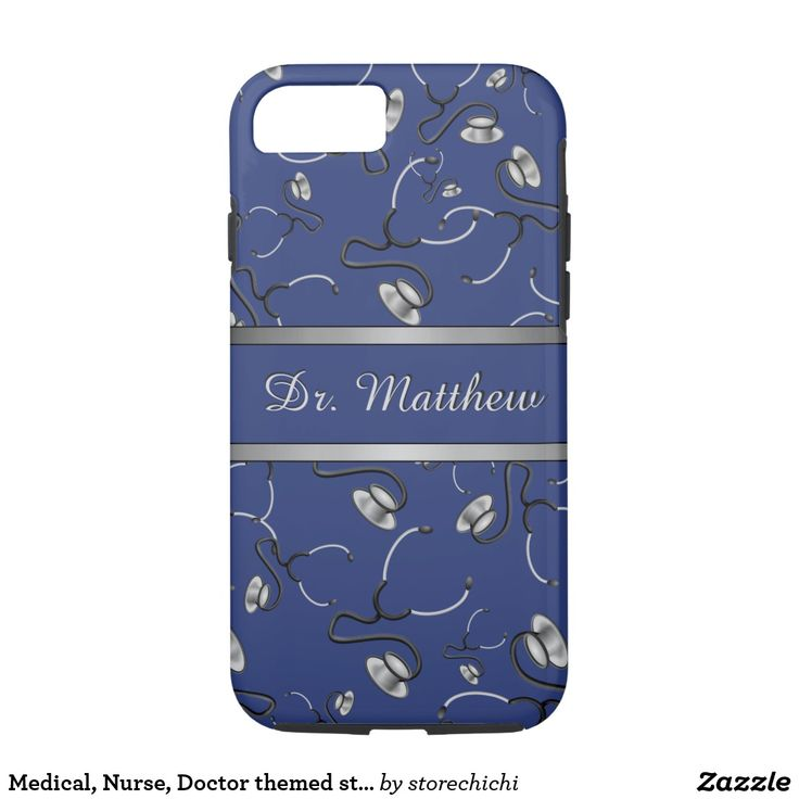 Medical, Nurse, Doctor themed stethoscopes, Name iPhone 8/7 Case. Medical, Nurse, Doctor themed stethoscopes, Name design. The pattern including silver gray & black color stethoscopes on navy blue background, a doctor or nurse typically use in their field of medical professional practice on the job. Great gift idea for doctors, physician, phd, graduate, nursing student, med student, surgeon, nurse or practicing registered nurse. #Medicaliphonecase #Nursetheme, #forDoctor #iphonecases