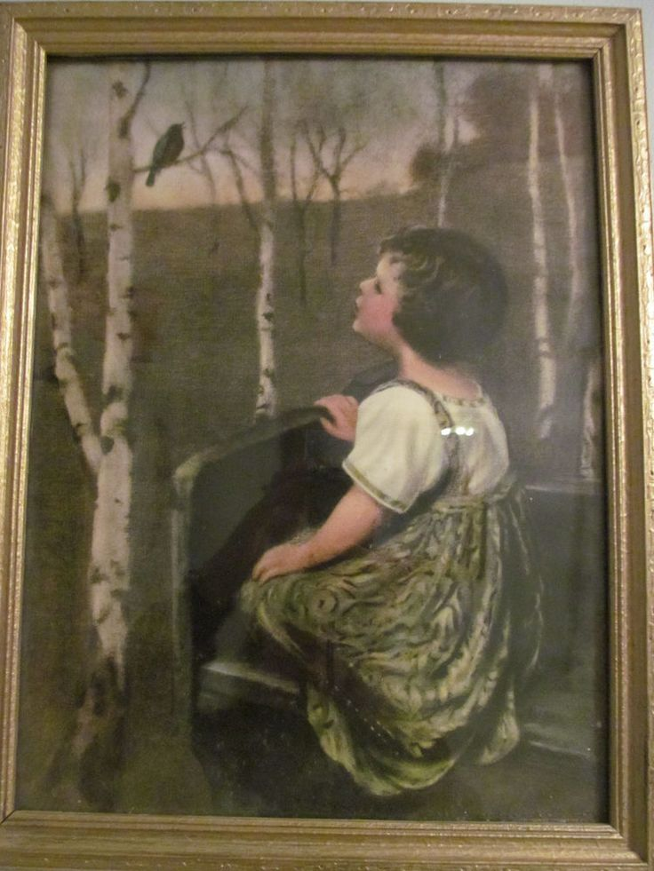"""VINTAGE GIRL WITH BIRD IN TREE COLUMBIAN COLORTYPE CO, CHICAGO """"SONG BIRD"""" PRINT"""
