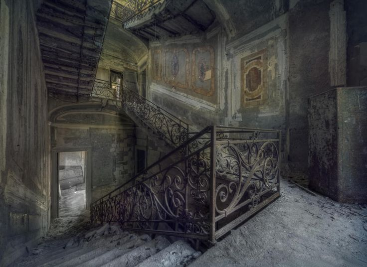 Abandoned mansion staircase
