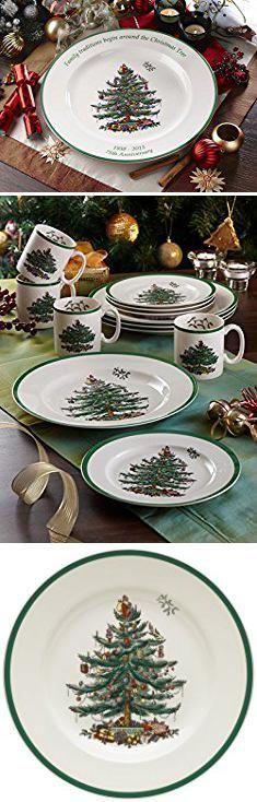 Christmas Plates. Spode Christmas Tree 10-1/2-Inch Dinner Plates, Set of 4.  #christmas #plates #christmasplates