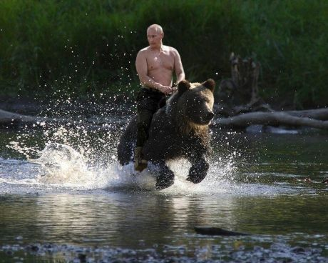 SUBJECT MATTER: Focus Study, Russia. A Photoshopped image of President Vladimir Putin riding a bear. It depicts a snippet of Putin's identity with a cultural reference of Russia being well known for and commonly depicted as a bear.