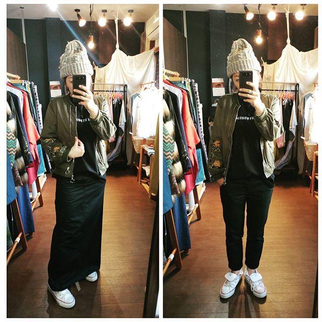 刺繍ブルゾン×SUMTシャツ コーデ  やっぱりカジュアルが好きです❗ お店の原点でもあります❗ パンツとスカートどっちもいいなぁと思いながら✨  今度はきれいめでコーデしてみようと思います🌟  #tシャツ #tee #カジュアルコーデ #simple #likes #好きなもの #黒 #black #yyms #オリジナルとセレクトショップ