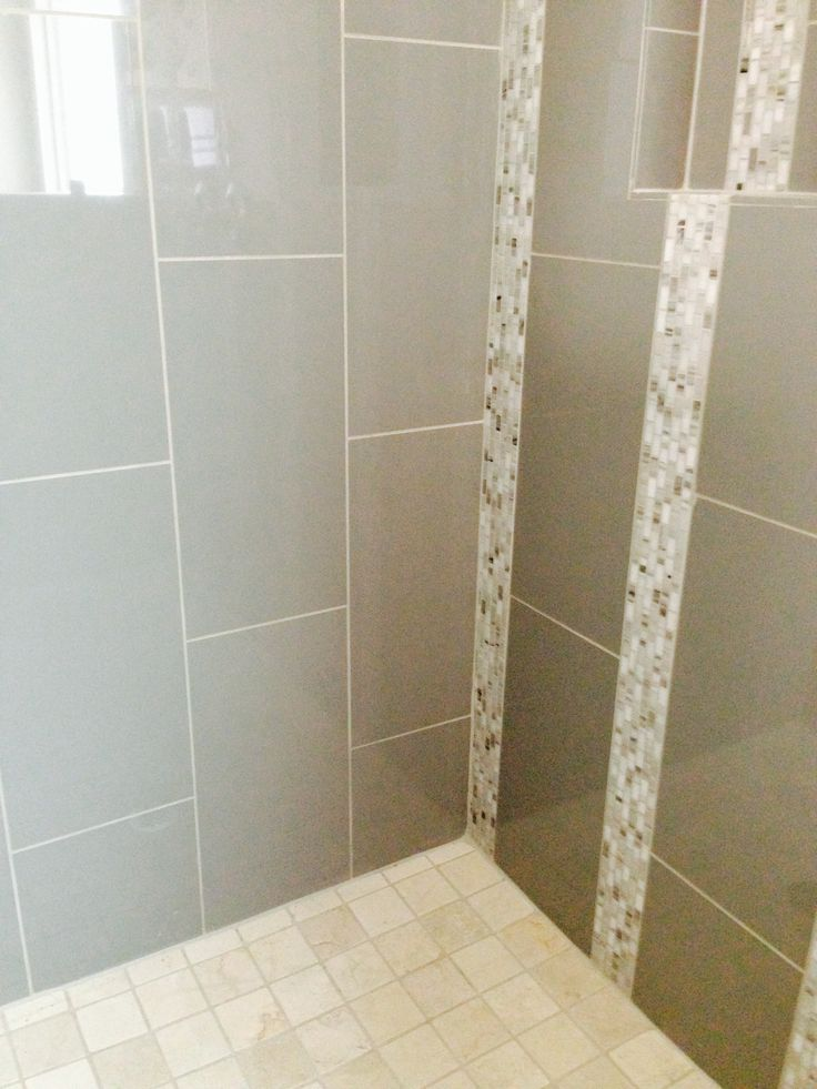 12x24 High Gloss Porcelain Tile With Decorative Mosaic Tile Accent With 2x2 Marble Tile Shower