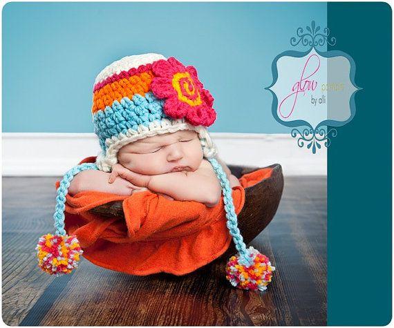 @Laura Day-Warren: Babies, Colors Combos, Newborns Hats, Newborns Crochet Hats, Flap Has, Baby Girls, Baby Hats, Bright Colors, Crochet Photo Props