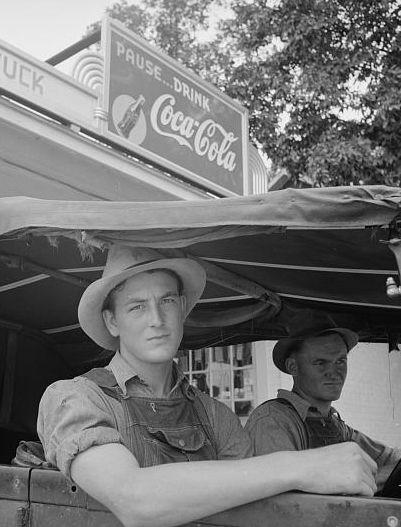 +~+~ Vintage Photograph ~+~+  Young men at At Tuck's filling station. Person County, North Carolina.  July 1939 Dorothea Lange.