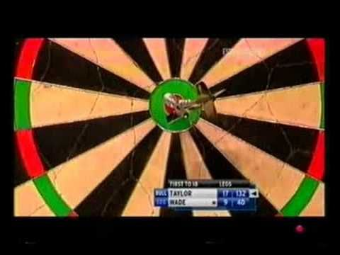 Phil Taylor hits another amazing shot - this time in the 2008 World Match Play Final v James Wade - to win the game.