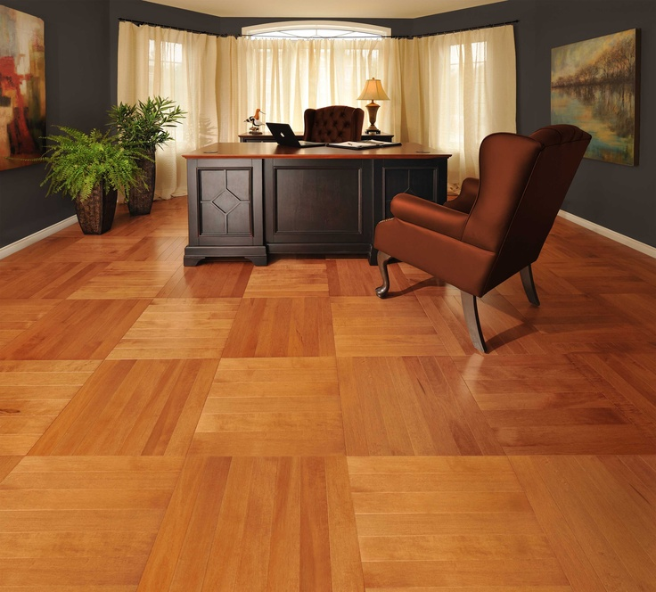 Cube pattern! - Mirage Floors, the world's finest and best hardwood floors. www.miragefloors.com #Mirage #Hardwood #Floor #Maple #Nevada #Herringbone #Cube #Pattern #Office #Desk