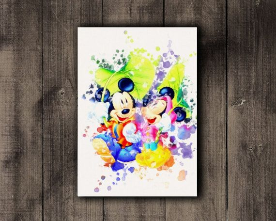 Mickey & Minnie Mouse Printable Disney Watercolor by CoffeeLoffe
