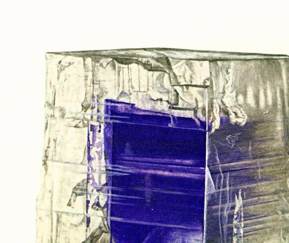 1970 Illustration Sel Gemme Halite. Monocristal grandeur nature. Planche Originale Pierres Mineraux Roches. Geologie. Decoration murale.