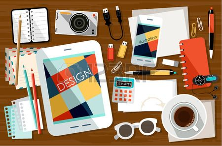 Image of the workplace with office things and paper #flat #design #vector #stockphoto #web #mobile #app
