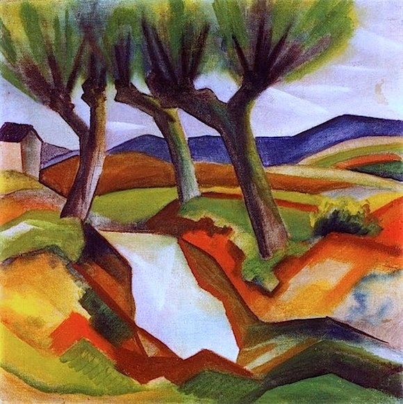 Blaue Reiter - August Macke was only 27 years old when he died. He left a collection of over 500 paintings that describe everyday scenes. He was influenced in his artistic work by the colors of North Africa, where he traveled, and by meeting with fauvist painters such as Marc, Delaunay & Matisse. He was also influenced by cubism, but epitomizes German expressionism.