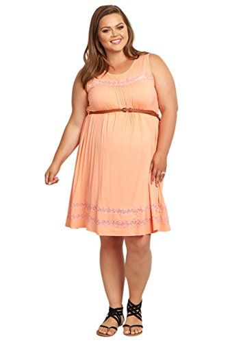 PinkBlush Maternity Peach Lace Belted Plus Size Dress 2X *** Want to know more, click on the image.Note:It is affiliate link to Amazon.