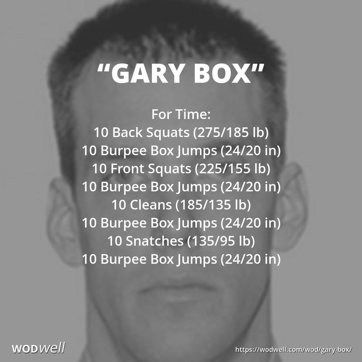 For Time: 10 Back Squats (275/185 lb); 10 Burpee Box Jumps (24/20 in); 10 Front Squats (225/155 lb); 10 Burpee Box Jumps (24/20 in); 10 Cleans (185/135 lb); 10 Burpee Box Jumps (24/20 in); 10 Snatches (135/95 lb); 10 Burpee Box Jumps (24/20 in)