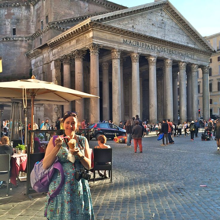 The Pantheon in Rome, Italy (& having a gelato snack!)