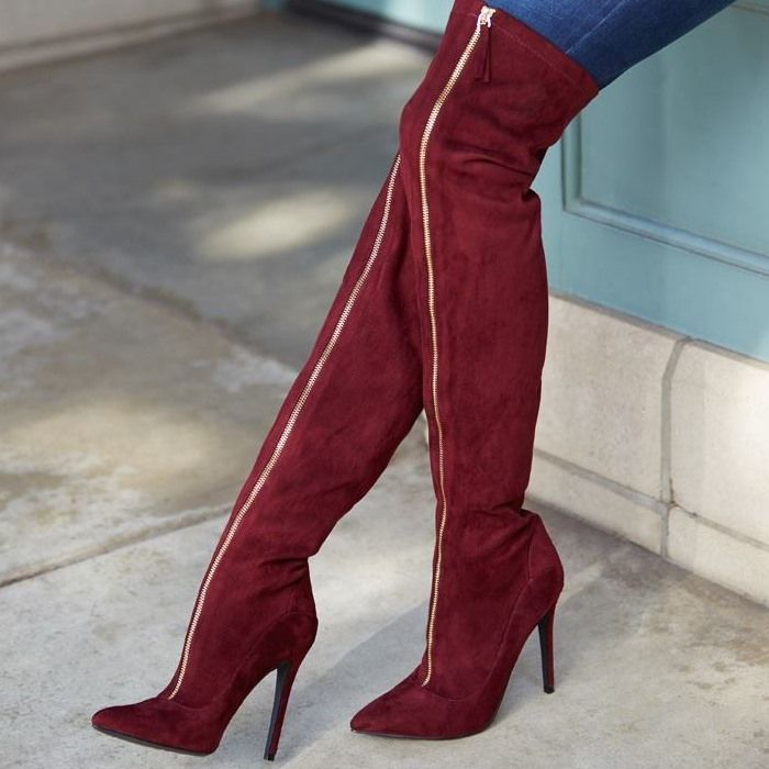 89.00$  Buy here  - Scarpe donna stivali in camoscio tacchi alti sopra il ginocchio stivali catena punta a punta alta della coscia stivali