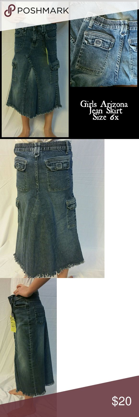"""GIRLS size 6x jean skirt. Modest. No splits. Girls 6x jean skirt. Measurements taken when lying flat: waist 11 (elastic not stretched) hips 12 1/2"""" Length 22"""" Awesome frayed hem won't roll, requires no ironing, wash and go, great for school mornings. Easy to play and run in. Arizona Jean Company Bottoms Skirts"""