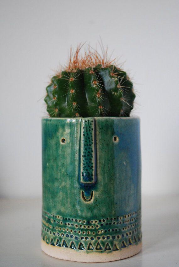 #face #pots #collection #cactus