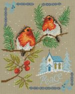 Peaceful Birds Two perched birds looking upon on a church while snow falls around them. This design would be beautiful holiday decor! Peaceful Birds is designed to be stitched on 14ct aida fabric and uses 20 different colors of floss. By Diane Arthurs for Imaginating. Contact Hoffman Distributing.