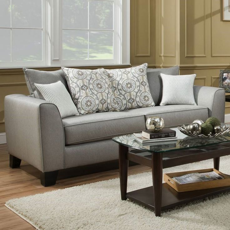 Albany Suzannah Gray Twill Sofa Weekends Only Furniture And Mattress Living Room Under 500