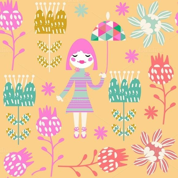 Kids seamless pattern, vector by LuizaVictorya on @creativemarket